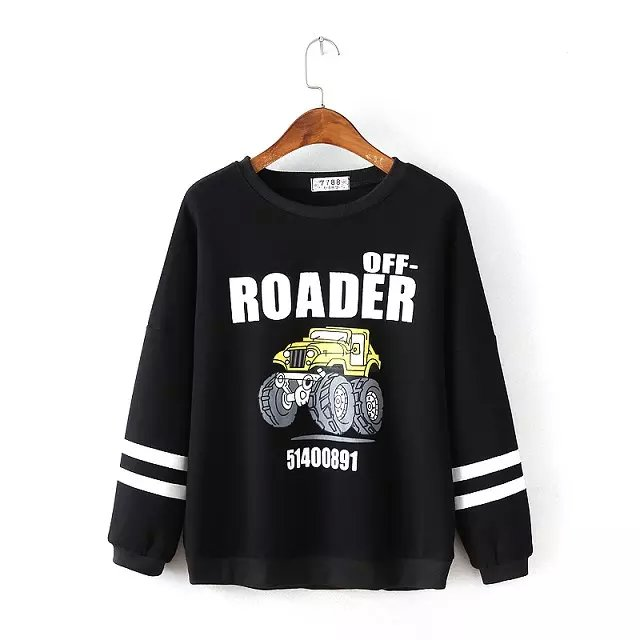 American style Autumn Fashion black Car Letter print ...