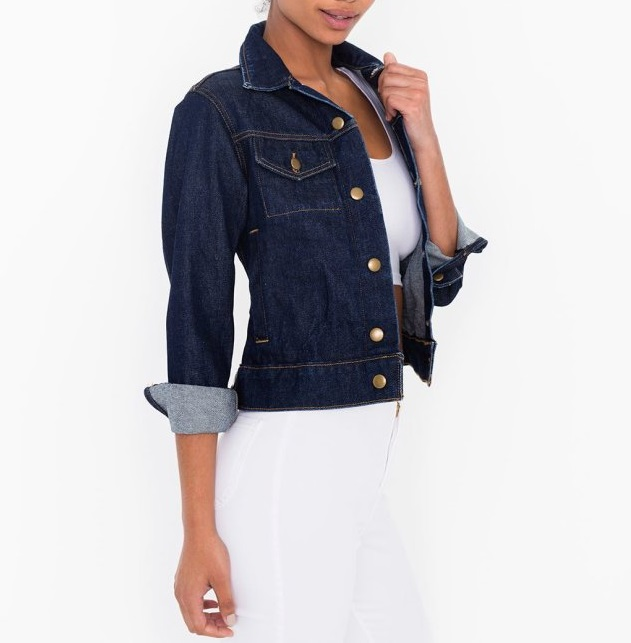 American Style Fashion women Dark blue denim Jacket ...