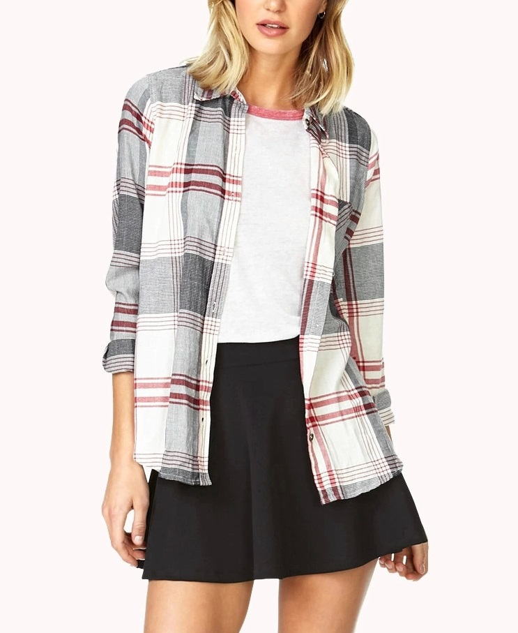 American Style Women fashion classic Plaid pocket blouses ...