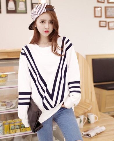 Autumn Fashion Navy stripes white Patchwork sport pullovers ...