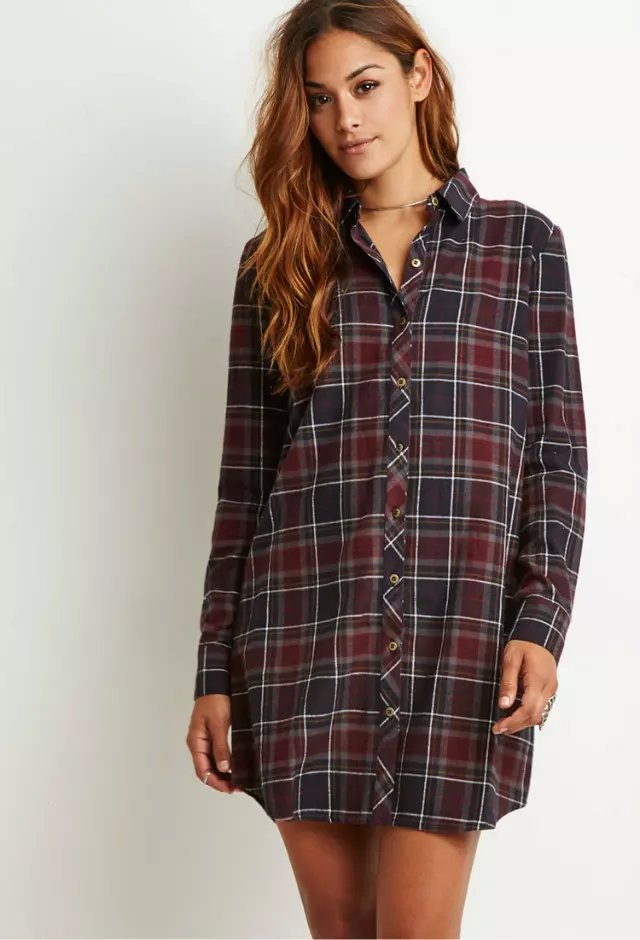 Autumn Fashion plaid print cotton shirt Dresses for ...