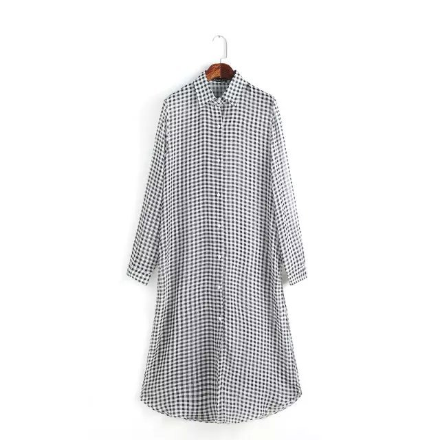 Autumn Fashion plaid shirt Long Chiffon Dresses for ...