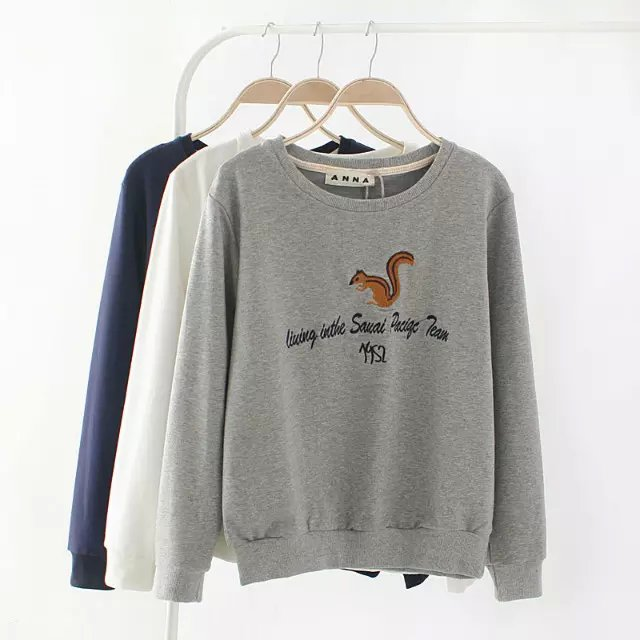 Autumn Fashion Squirrel Letter Embroidery sport pullovers ...