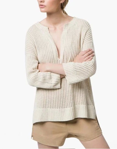 Autumn Fashion Women brief Hollow out beige Long Sleeve ...