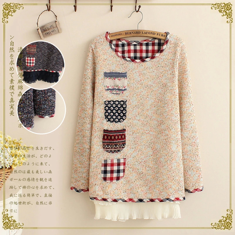 Autumn Fashion women elegant Colored yarn four pocket ...