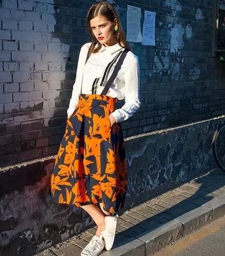 Autumn Fashion Women Elegant Floral print spaghetti ...