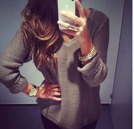 Autumn Fashion women gray knitwear Pullovers V-neck ...