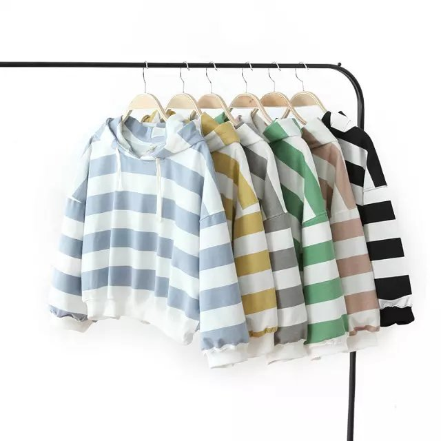 Autumn Fashion women hooded Casual Candy Color Striped ...