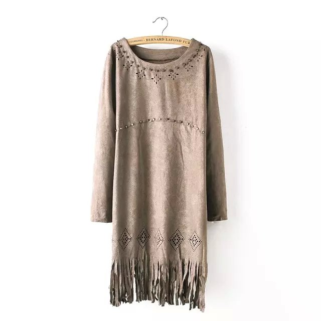 Autumn Fashion Women khaki Faux Suede Leather Hollow out rivet tassel Straight Dress O-neck casual brand female
