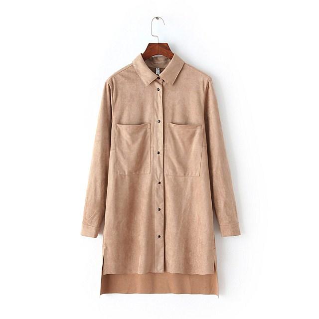 Autumn Fashion Women khaki Faux Suede Leather Shirt ...