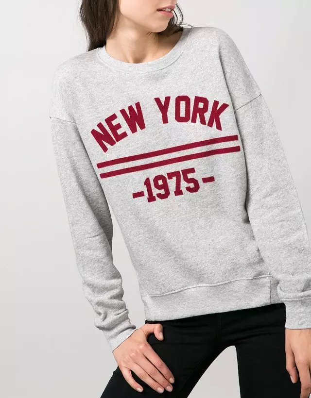 Autumn Fashion Women New York Number print gray sport ...