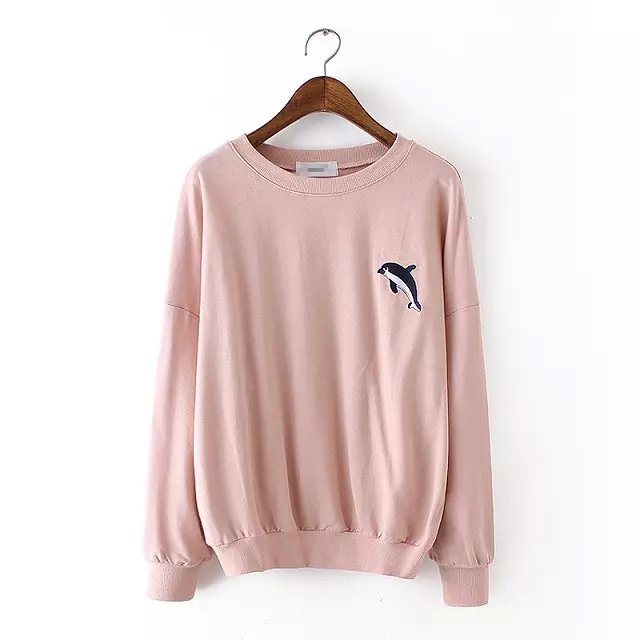 Autumn Fashion Women Pink dolphins Embroidery sport ...