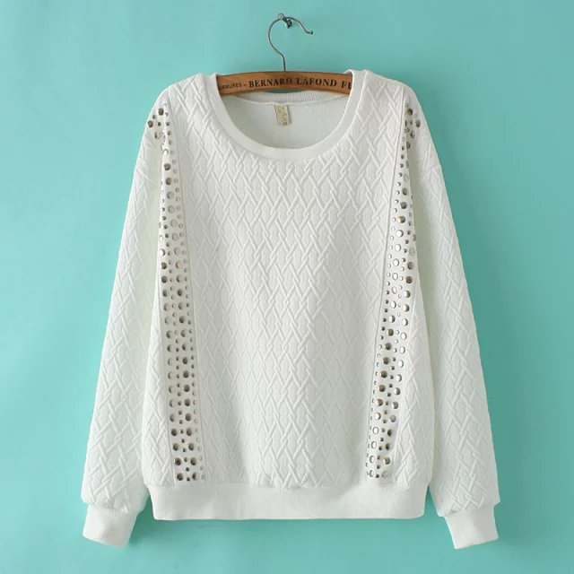 Autumn Fashion Women Punk Style Rivet White pullovers ...