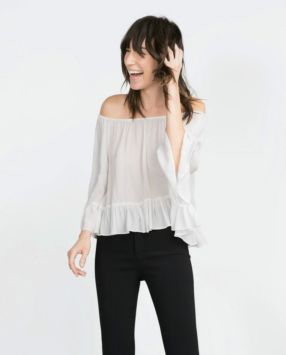 Autumn Fashion women Slash neck off shoulder Flare sleeve ...