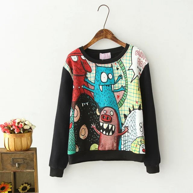 Autumn Fashion Women streetwear Black Cartoon print ...