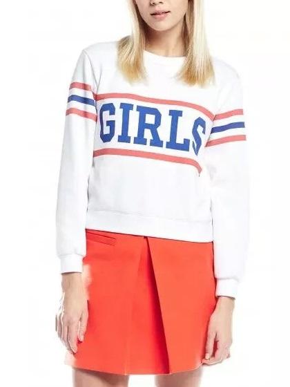 Autumn Fashion Women Striped Letter print white pullovers ...