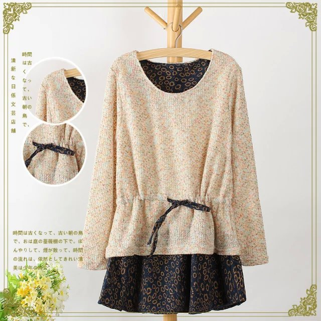 Autumn Fashion Women sweet Colored yarn knitted patchwork ...