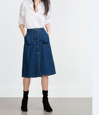 Autumn Fashion women vintage Button Pocket Blue Denim A-Line Knee Length Skirts casual quality skirt