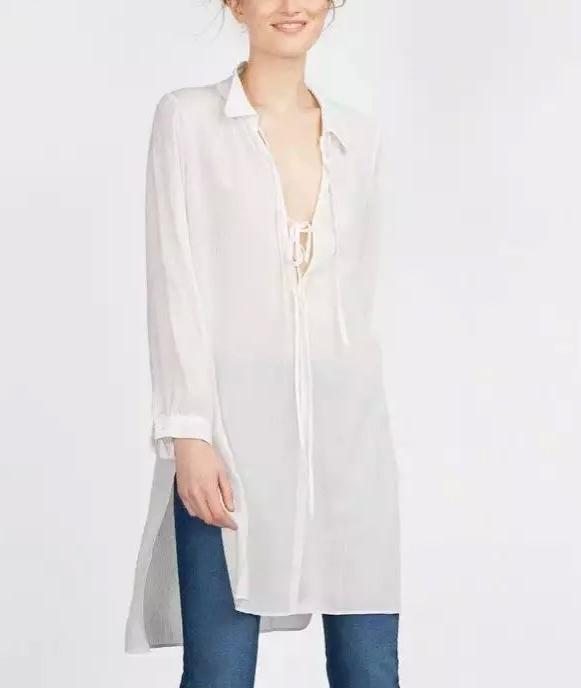Autumn Fashion Women White Bow side open Shirt Dresses ...