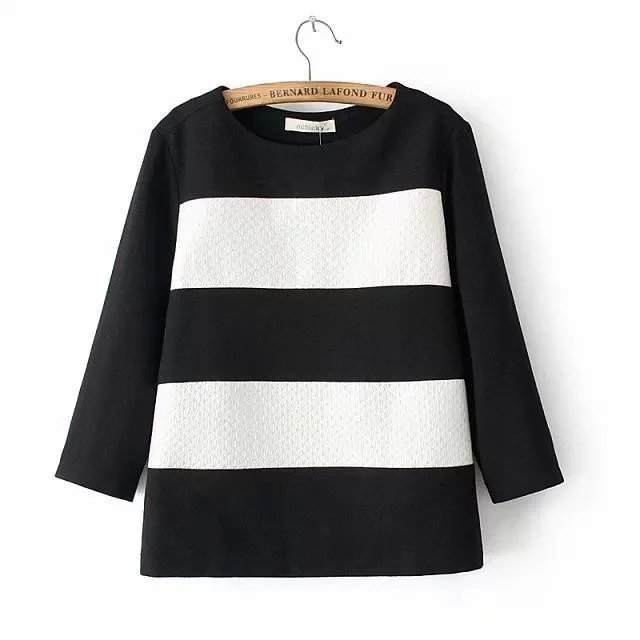 Autumn Fashion Women white stripes print black Embossing ...