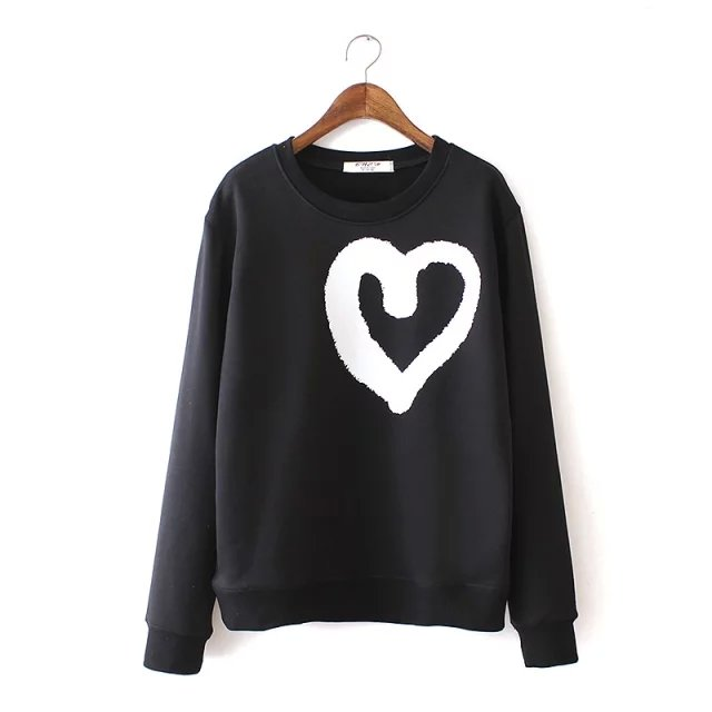 Autumn Punk Fashion Heart print Black sport pullovers ...