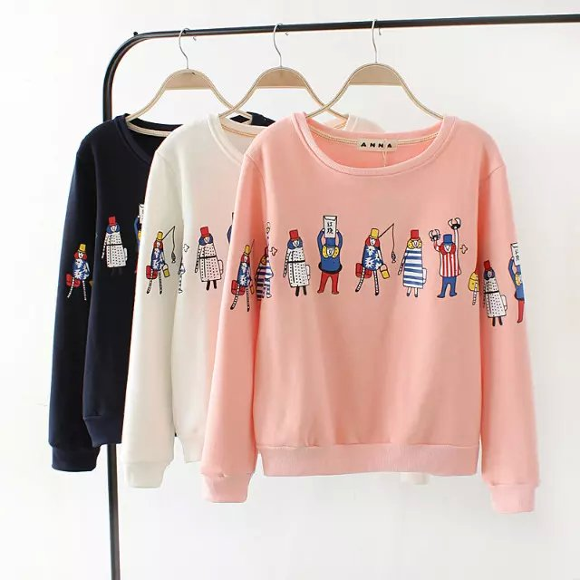 Autumn Thick Fashion pink Cartoon Print Pullovers for ...