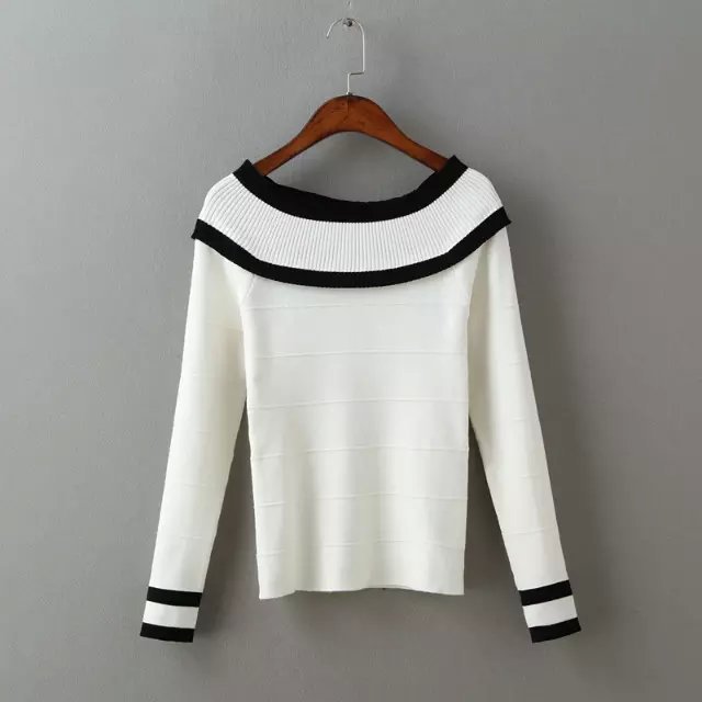 Autumn women fashion white striped pattern pullover ...