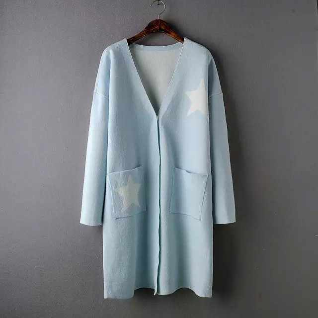 Cardigan for female Autumn Blue Star pattern Pocket ...