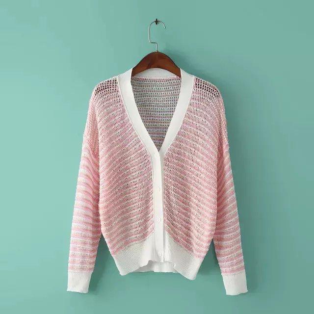 Cardigan for female Fashion cute striped pattern korean ...