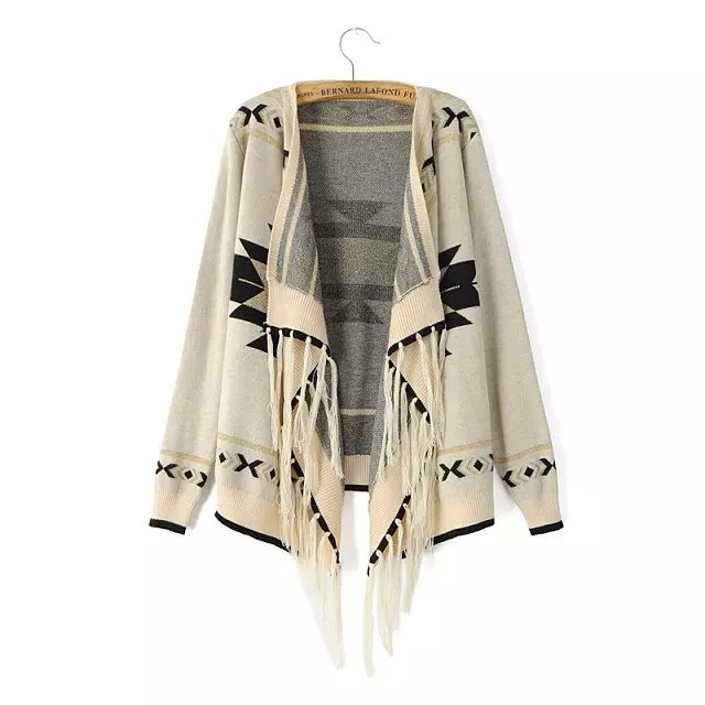 Cardigan for female Fashion Geometry pattern Tassel ...