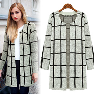 Cardigan for female Fashion gray plaid pattern long ...