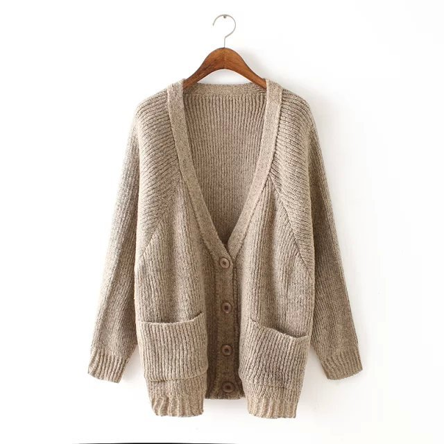 Cardigan for female Fashion Korean style Elegant Khaki ...