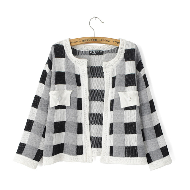 Cardigan for female Fashion Plaid Pattern Double Patch ...