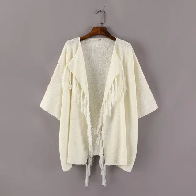 Cardigan for female Fashion Tassel O-neck beige Sweaters ...