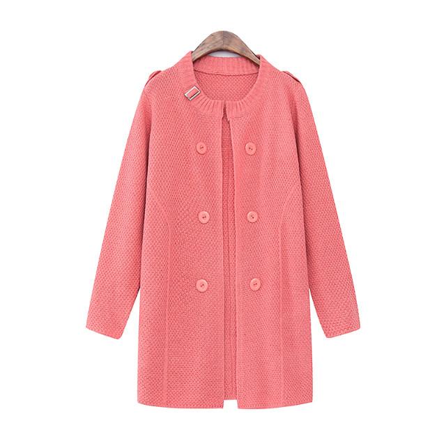 Cardigan for female fashion winter warm pink O-neck ...