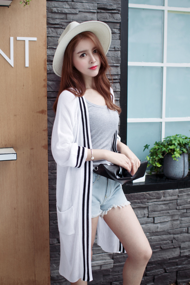 Cardigan for female Spring Fashion Navy style Double ...