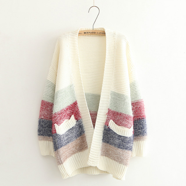 Cardigan for Women Autumn Fashion Colored Striped pattern ...