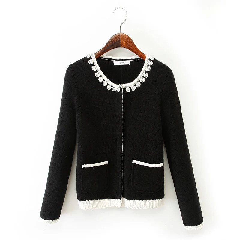 Cardigan for women Fashion pearl Beading Pockets Sweaters ...