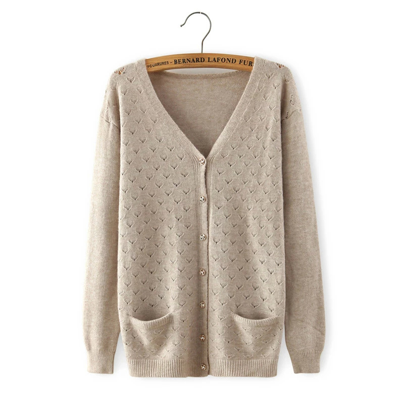 Cardigan for women spring Fashion khaki Pocket button ...
