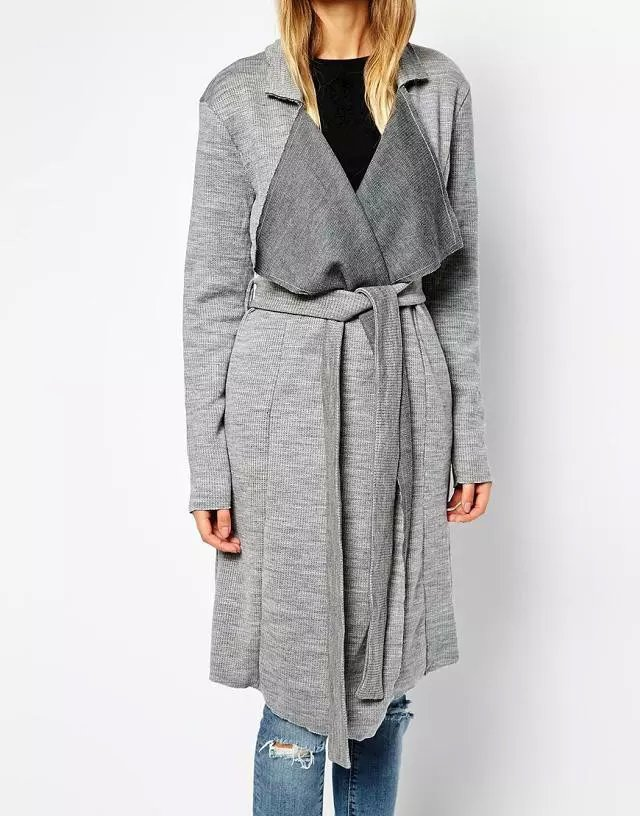 Cardigan lady for female Autumn Fashion gray With belt ...