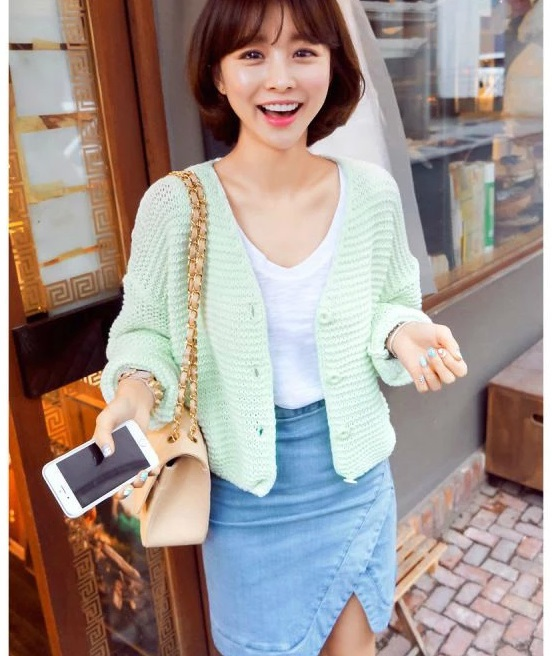 Cardigan Sweaters For Women Fashion Candy Color Knitted ...