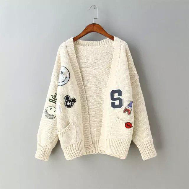 Cardigan Thick Sweaters Women Fashion vintage Cartoon ...