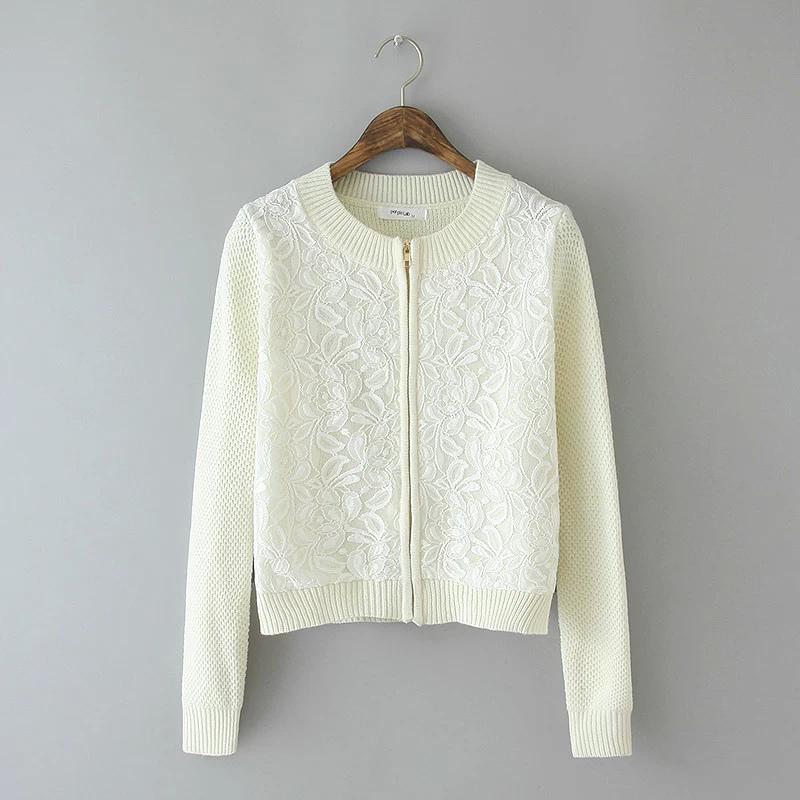 Cardigan Zipper for female Autumn Fashion Lace Patchwork ...