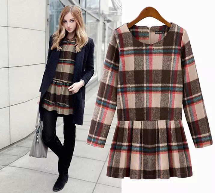 England Style Fashion Women Dress Woolen plaid pattern ...