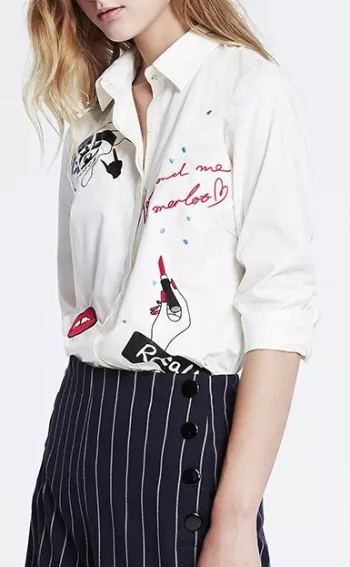Europe Fashion Lady Embroidery letter print blouses ...