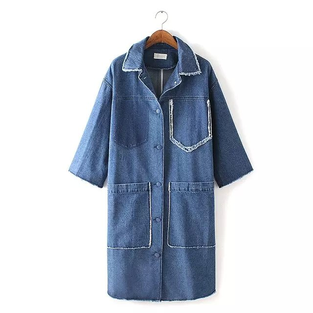European Fashion elegant Big Pocket Jean Denim trench ...