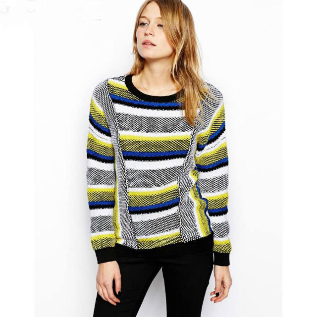 European Fashion winter Colored Striped pattern pullover ...