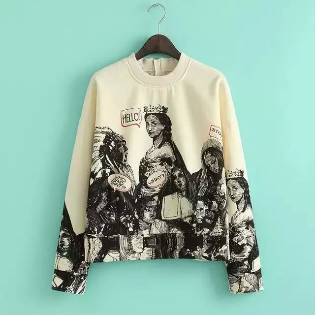 European Fashion Women beige Cartoon print pullover ...
