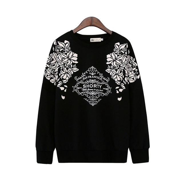 European Fashion women black totem Floral print pullovers ...