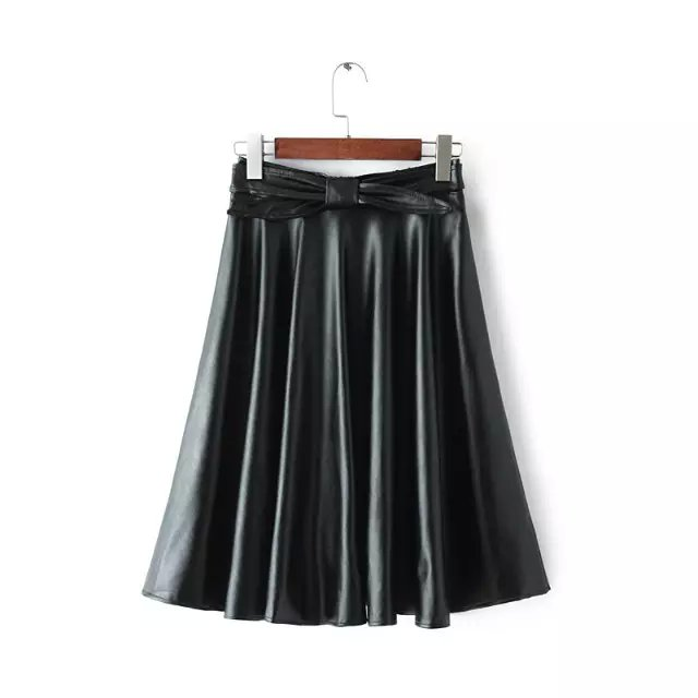 European Fashion women faux leather black Mid-Calf Pleated ...